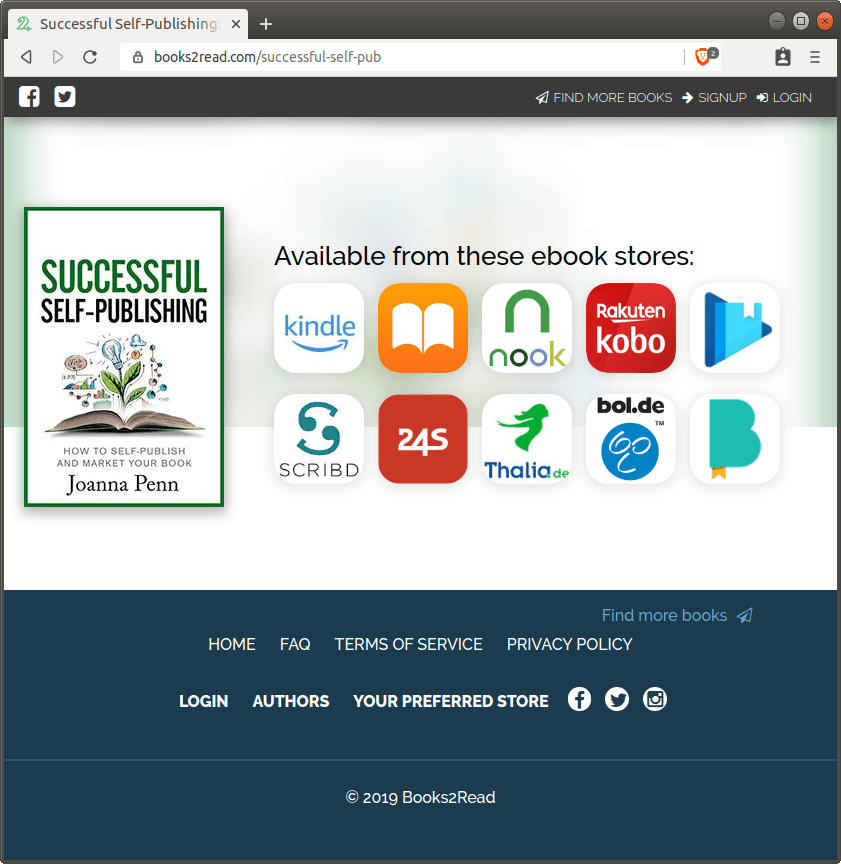 Screenshot of a Universal Book Link page