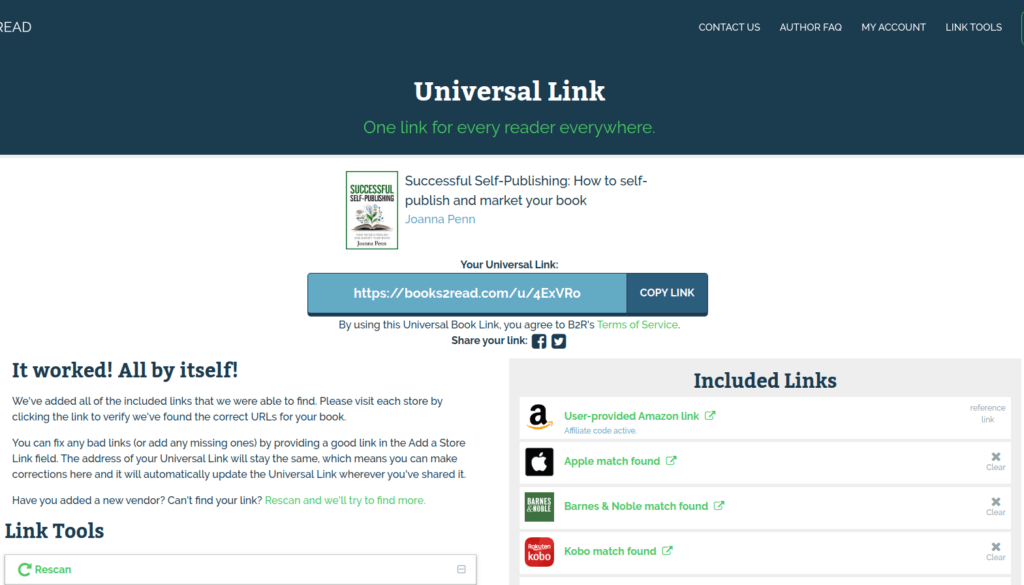 Screenshot of a newly-created universal book link