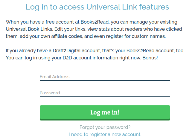 Screenshot of Books2Read login form