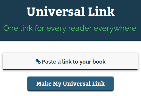 Screenshot of Universal Book Link page, showing where to paste a link