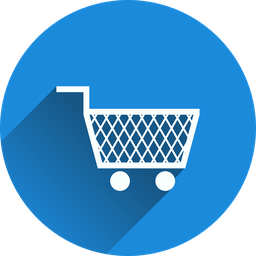 A shopping cart on a round blue background