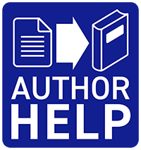 "Author Help logo. Word document becoming a book, with text ""Author Help"" underneath."