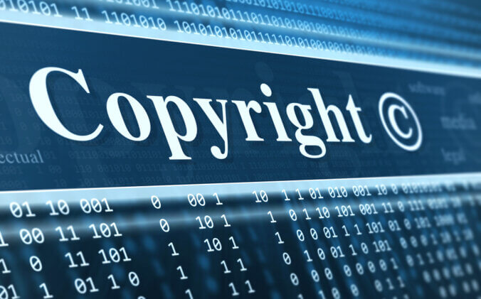 "Computer screen with ""Copyright"" and copyright symbol"