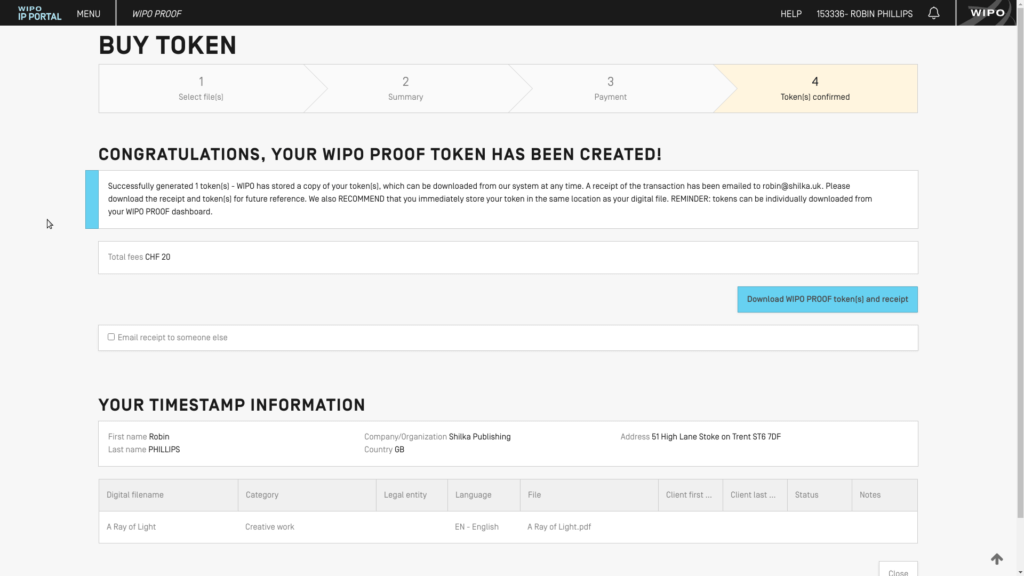 Screenshot: WIPO Proof token created