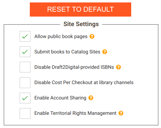 Screenshot showing how to enable account sharing on Draft2Digital